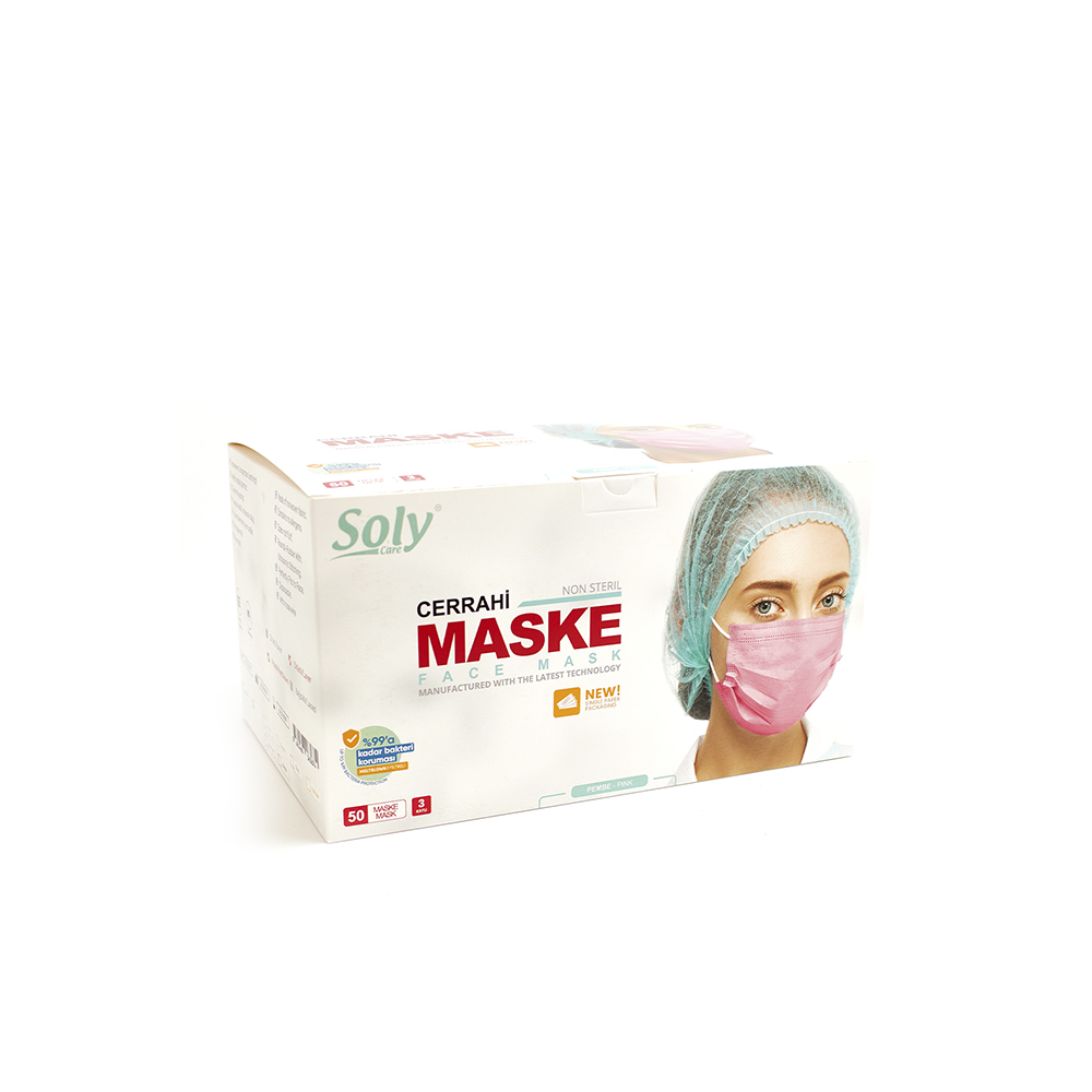 Tekli Zarf 3 Katlı Meltblown'lu Cerrahi Maske 50'li pembe