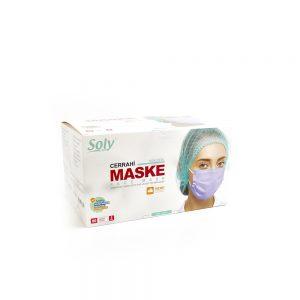 Tekli Zarf 3 Katlı Meltblown'lu Cerrahi Maske 50'li lila