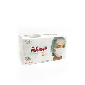 Tekli Zarf 3 Katlı Meltblown'lu Cerrahi Maske 50'li beyaz