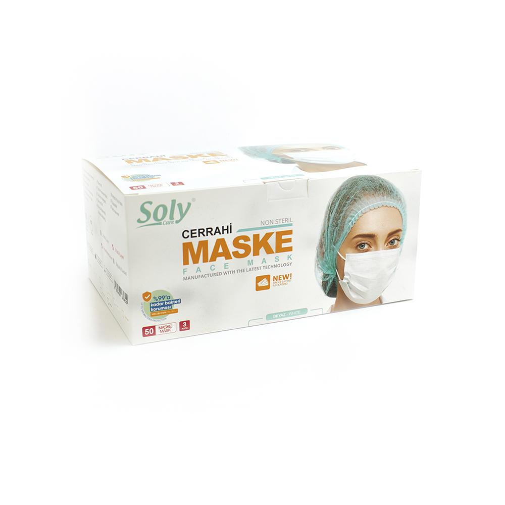 Tekli poşet3 Katlı Meltblown'lu Cerrahi Maske 50'li beyaz