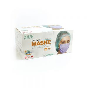 Tekli poşet3 Katlı Meltblown'lu Cerrahi Maske 50'li lila