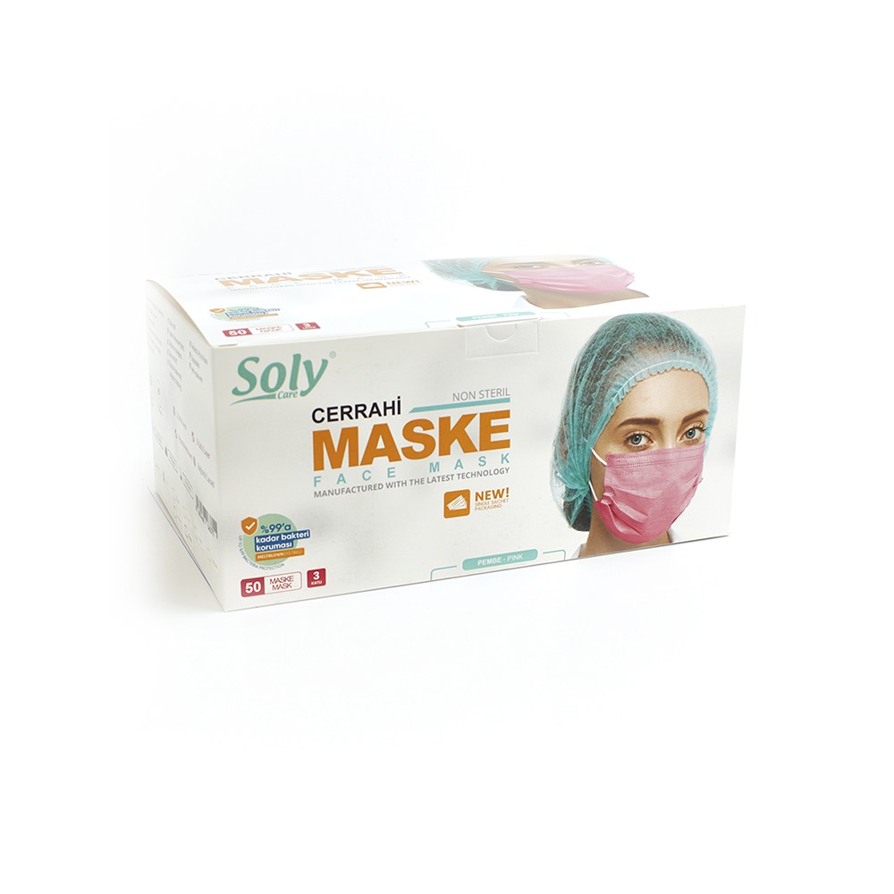 Tekli poşet3 Katlı Meltblown'lu Cerrahi Maske 50'li pembe