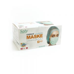 Tekli poşet3 Katlı Meltblown'lu Cerrahi Maske 50'li yeşil